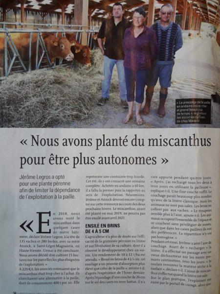 Retour D'expérience Litière Bovine Miscanthus (France Agricole Oct 19)